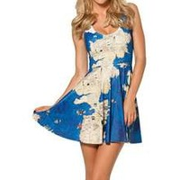 2014 New Black Milk World Map Skater Dress Women Fashion Clothes Cheap Price Hot Sales