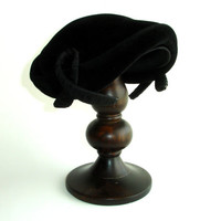 Black Velvet Juliet Cap: Fascinator, 50s Mid-Century Pin Up Hat, Retro Rockabilly Hat, Ribbon Trim, Made in France, French Connection, Sz 22