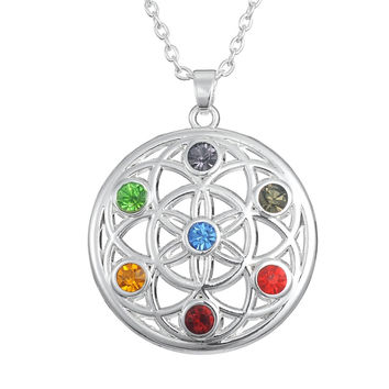 Flower of Life Buddha Infinity Feather 7 CHAKRA Crystal Symbol Pendant Necklace Buddhist Jewelry