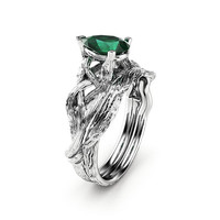 Emerald Engagement Ring Set Pear Cut Twig Ring 14K White Gold Ring May Birthstone
