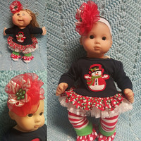 "15 inch Baby Doll Clothes handmade will fit Bitty Baby® fits Cabbage Patch® ""Frosty"" doll outfit leggings headband Christmas Snowman  N6"