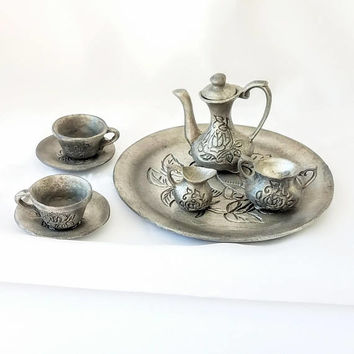 Vintage Miniature Pewter Tea Set, Rose Pewter MIniature Tea Service signed NEP Barbie Toy Tea Dollhouse Tea Party Gift for Girl