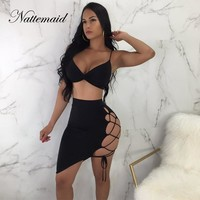 NATTEMAID Black 2 Piece Set Women Two Piece Sets 2018 Bandage Two Piece Set Top And Skirt Set Summer 2 Piece Outfits For Women