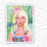 Folk Art Mixed Media Painting Summer Girl  by kellbellestudio