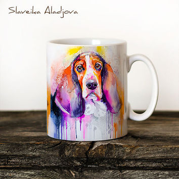 Basset dog Mug Watercolor Ceramic Mug Unique Gift Coffee Mug Animal Mug Tea Cup Art Illustration Cool Kitchen Art Printed mug