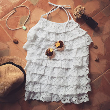 Halter Eyelet White Lace Top Boho Beach Hippie Style Crop Top