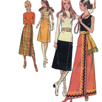 1970s Maxi, Mid Calf, Knee Length Wrap Skirt w/ Patch Pockets Sewing Pattern McCalls 2879 - Waist 24/Hip 34.5 -UNCUT Vintage Evening Length