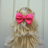 Hot pink velvet bow hair clip - bow barrette - kawaii - feminine