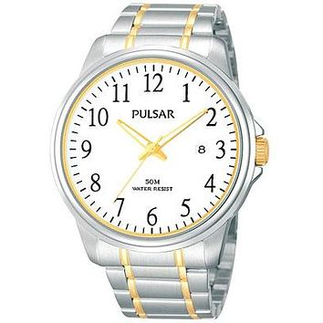 Pulsar Mens Two-Tone Date Watch - White Dial with Luminous Hands - 43mm Case