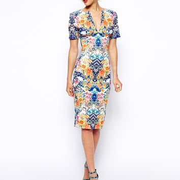 ASOS Sexy Pencil Dress in Scuba with Mirror Floral Print