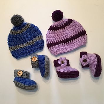 Two Tone Baby Hat and Bootie Set