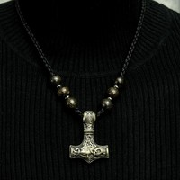 Bronze Thor's Hammer on Viking Braid Leather Necklace with 6 Bronzite Accent Beads