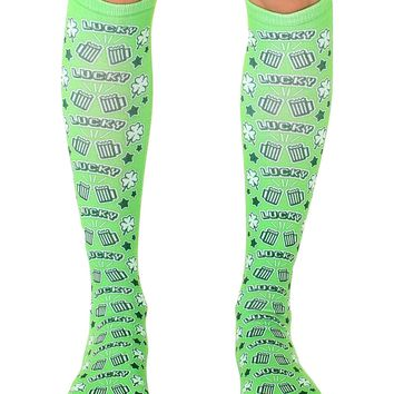 Pixel Beer And Shamrock Knee High Socks