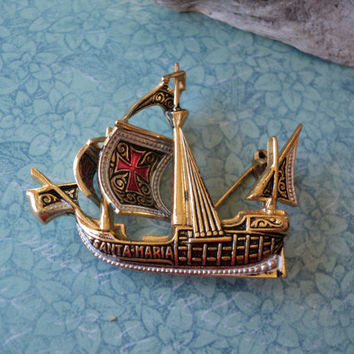 Christopher Columbus Santa Maria Brooch Sailboat Pin Columbus 1492 Flagship Detailed Design with Sails and Red Crosses Vintage Jewelry