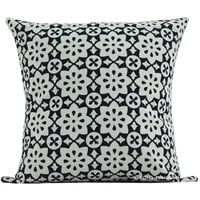 "16"" Black Floral Hand Block Print Cotton Throw Pillow Cover"