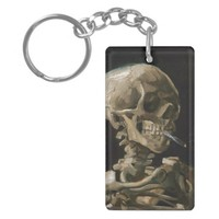 Skull with Burning Cigarette Vincent van Gogh Art Double-Sided Rectangular Acrylic Keychain