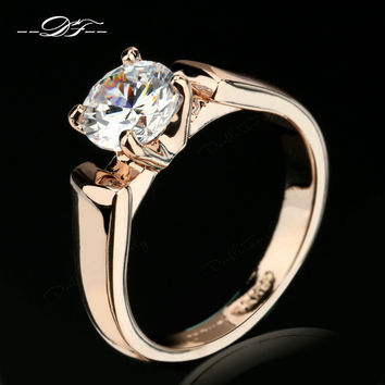 Double Fair Round Cut Cubic Zircon Engagement Rings Silver/Rose Gold Plated CZ Stone Wedding Jewelry For Man & Women Anel DFR054