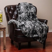 Chanasya Super Soft Fuzzy Fur Warm Charcol Gray Sherpa Throw Blanket -Charcoal Dark Gray Waivy Fur Pattern