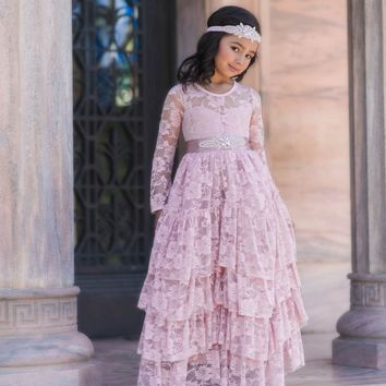 Coralee Dress & Sash Rose Pink Long Sleeve Lace Layers Ruffle Skirt Lace Gown Dress