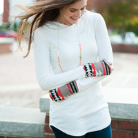 Aztec Accent Hoodie, White