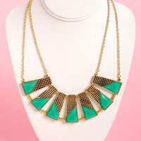 Plot the Points Gold and Teal Statement Necklace