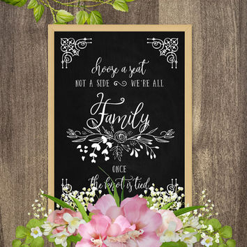Choose a seat not a side sign, Rustic wedding decorations, Wedding chalkboard signs, Large chalkboard decor, Rustic country wedding theme