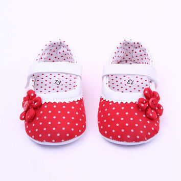 2016 Newborn Baby Girl Shoes Spring Summer Dots Flower Pink Cotton Shoes Infant Toddler First Walker For Baby 3-18 Months