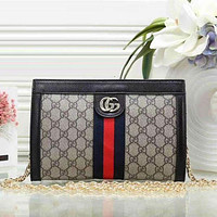Gucci ladies trendy leather handbag Messenger bag F black