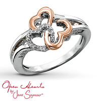 Open Hearts Ring 1/20 ct tw Diamonds Sterling Silver/14K Gold