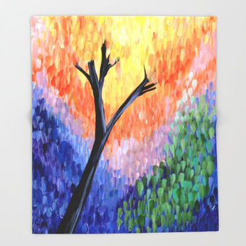 "Colorful Tree Throw Blanket - ""Be the Colorful Tree"" comfy fleece blanket - fall landscape,  leaves, impressionist fine art"