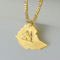 ethiopian map pendant necklaces chain women men Gold Plated Jewelry Africa W Gold Chain Necklace Ethiopia lion Maps #004201