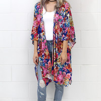 In Full Bloom Floral Side Splice Kimono {Navy Mix}