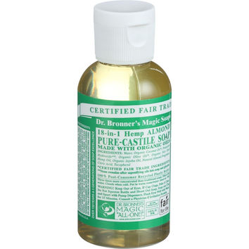Dr. Bronner's Pure Castile Soap - Fair Trade and Organic - Liquid - 18 in 1 Hemp - Almond - 2 oz - Case of 12