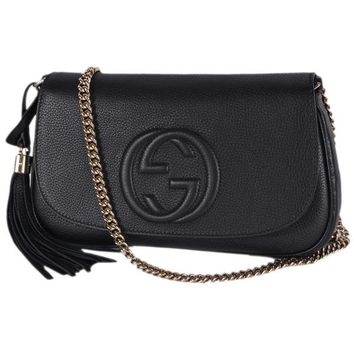 Gucci 536224 Black Leather SOHO Tassel Crossbody Purse Handbag | Overstock.com Shopping - The Best Deals on Designer Handbags