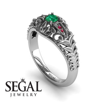 Unique Engagement Ring 14K White Gold Vintage Victorian Ring Edwardian Ring Filigree Ring Green Emerald With Ruby - Cadence