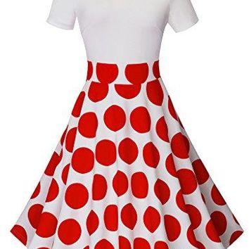HOMEYEE Womens 1950s Vintage Off Shoulder Polka Dot Swing Dress A015