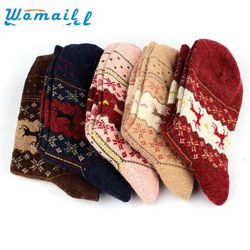 Womail Newly Design Christmas Deer Moose Design Casual Warm Winter Knit Wool Socks For Mens Women  June29 Drop Shipping Womail