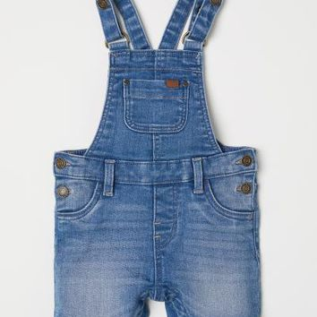 Denim Bib Overall Shorts - Denim blue - Kids | H&M US