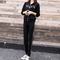 """Valentino"" Women Casual Fashion Letter Webbing Long Sleeve Zip Cardigan Trousers Set Two-Piece Sportswear"