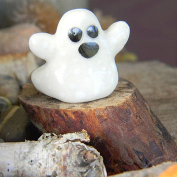 Ceramic Ghosts  handcrafted Pick a Boo   terrarium miniature glazed Pottery . Spooky Boo Goblins Halloween decor safe Outside
