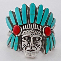 Native American Indian Turquoise and Coral .925 Silver Ring Size: 6.5