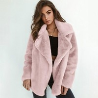 Faux Fur Waterfall Coat