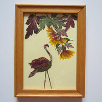 """Unique picture from pressed flowers """"Attitude"""" - Pressed flowers art - Original art collage - Home decor wall art - Framed picture."""
