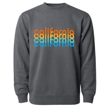 California Repeat Text Pigment Dyed Crewneck Black