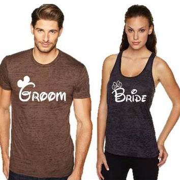Disney Inspired Bride and Groom Shirts and Tank Top Set Couples SweatShirt Disney Inspired Couples Sweatshirts