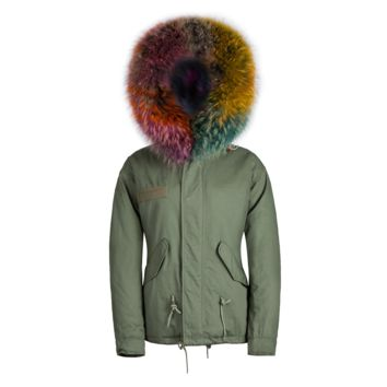Raccoon Fur Collar Parka Jacket Multi