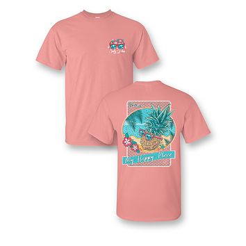 Sassy Frass My Happy Place Beach Pineapple Paradise Comfort Color Bright Girlie T Shirt