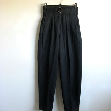 Vintage  Black 80s Pants High Waist 1980s Black Heavy Cotton Slacks XS