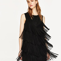 FAUX SUEDE DRESS WITH FRINGE DETAILS