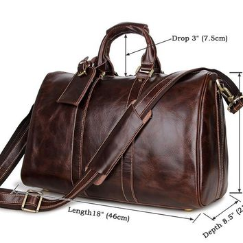 Vintage genuine leather travel luggage bag leather travel bag large capacity luggage bags shiny weekend handbag